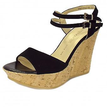 Peter Kaiser Ronko Ladies Wedge Sandals In Black Suede