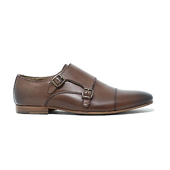 Walk london luca monk strap shoes in brown leather