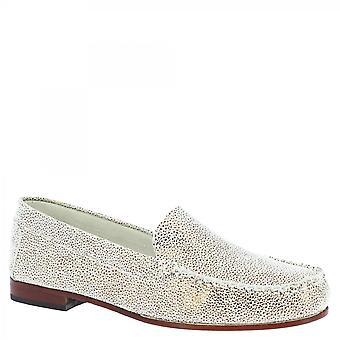 Leonardo Shoes Women-apos;s handmade slip on moafers shoes beige platinum leather