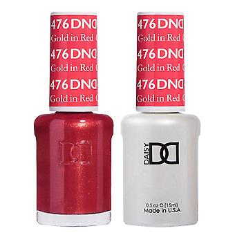 DND Duo Gel & Nail Polish Set - Gold In Red 476 - 2x15ml