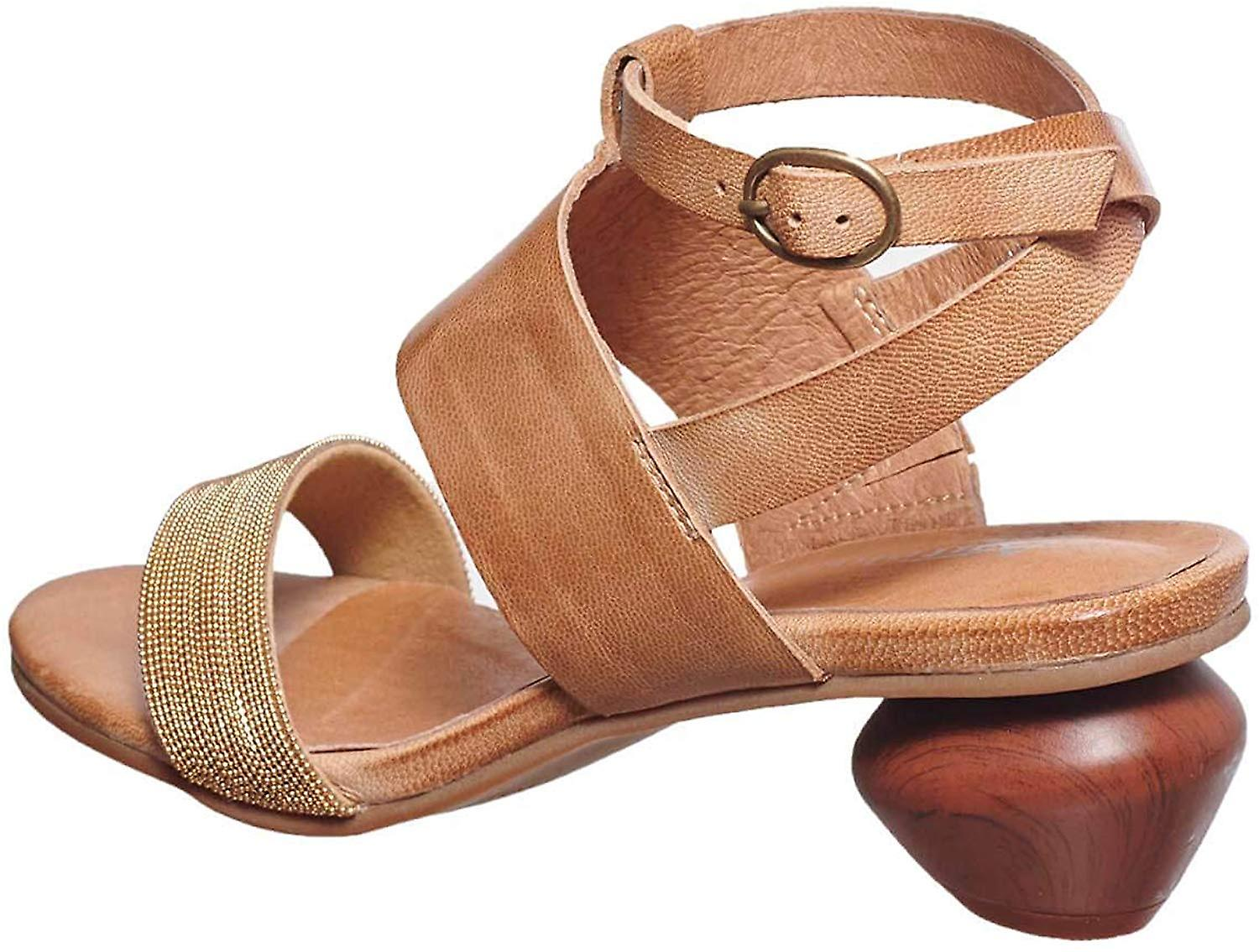Antelope Women's 480 Leather Ankle Wrap Egg Heeled Sandal