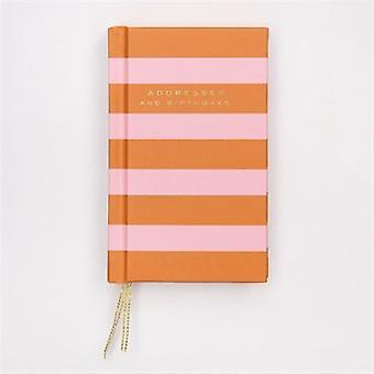 Caroline Gardener Orange/Pink Striped Address & Birthday Book
