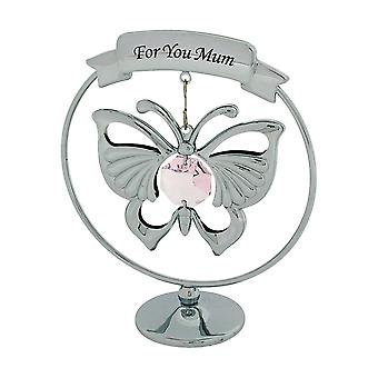 "Crystocraft Chrome Plated Hanging Mobile Butterfly Made With Swarovski Crystals on Circular Base Ornament""For You Mum"" Gift"