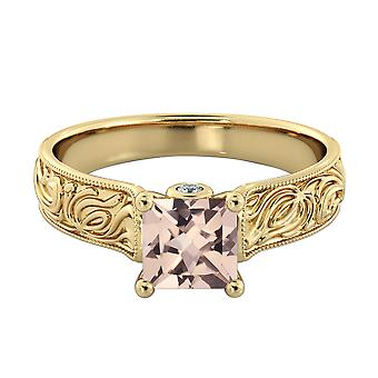 3.06 CTW natural peach/pink VS Morganite Ring with Diamonds 14k Yellow Gold Vintage Hand Engraved