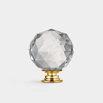 Crystal Door Knob - Clear / Gold - Faceted - 40mm