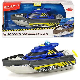 Dickie Toys 203714010 Patrouillenspielzeug, Spezialkräfte, Polizeiboot mit Wind Up Cord, Licht & Sound