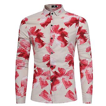 Allthemen Men's Long Sleeve Shirt Floral Linen Business Casual Shirt