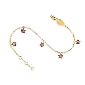 Anklet Constellation Hanging Fairy Flower on Precious Stone,  18K Gold and Diamonds - Ruby | Emerald | Sapphire - Yellow Gold, Ruby