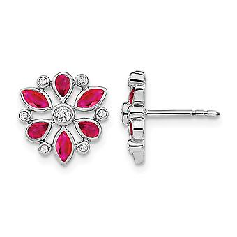 14K White Gold 9/10 Carat (ctw) Natural Ruby Flower Earrings with Diamonds 1/8 Carat (ctw)