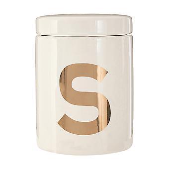 Premier Housewares Mono Sugar Canister, White Gold
