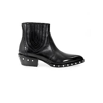 BARRACUDA BD0630 STUDDED BLACK ANKLE BOOT