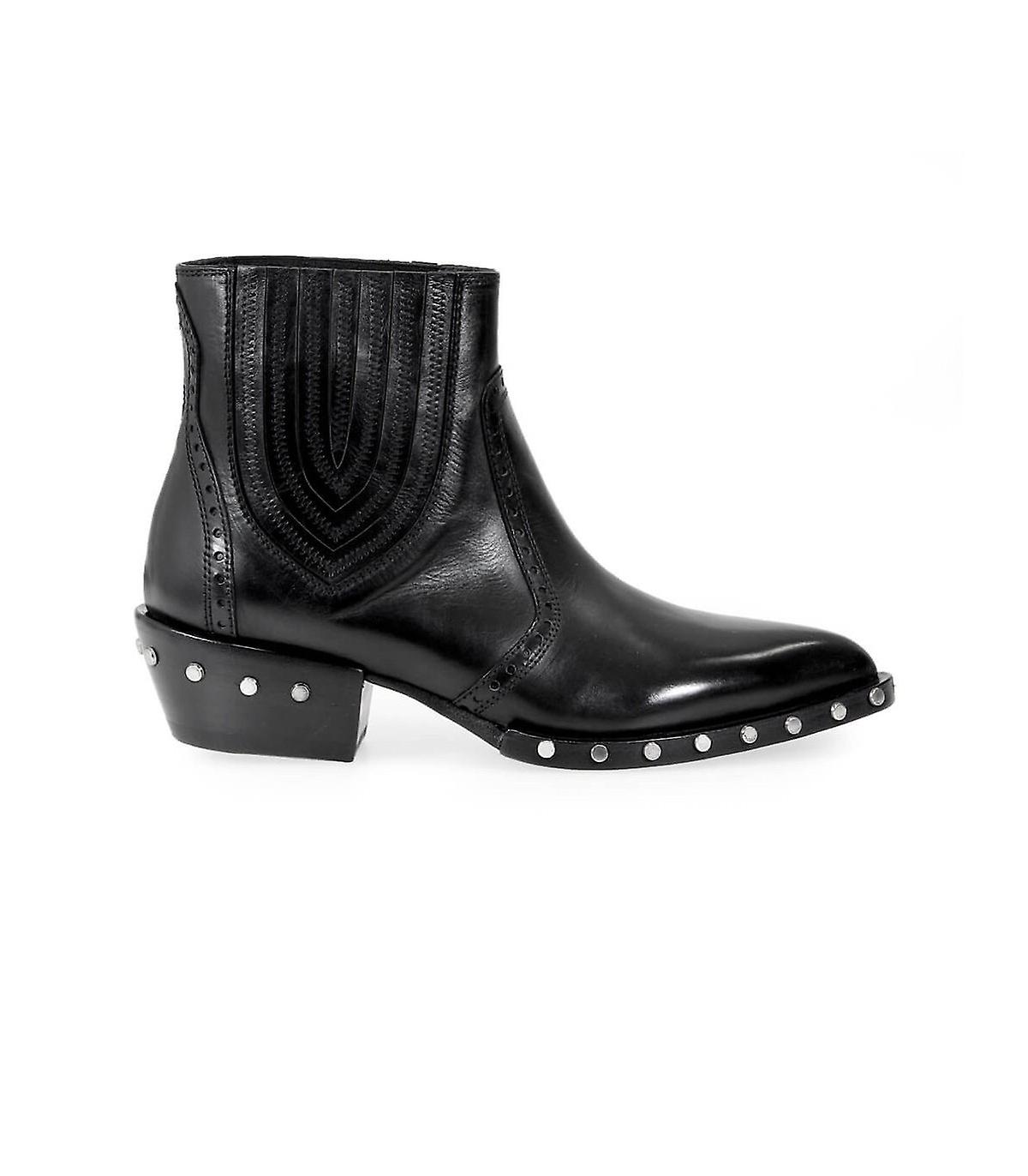 BARRACUDA BD0630 STUDDED BLACK ANKLE BOOT wPmCA