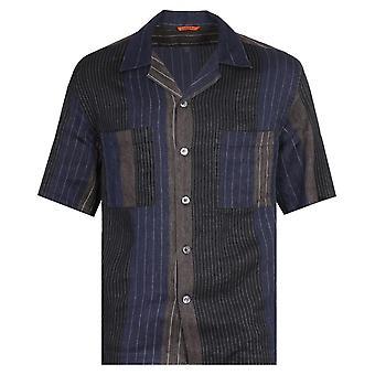Barena Camicia Solana Gianto Pinstripe Marineblå Skjorte