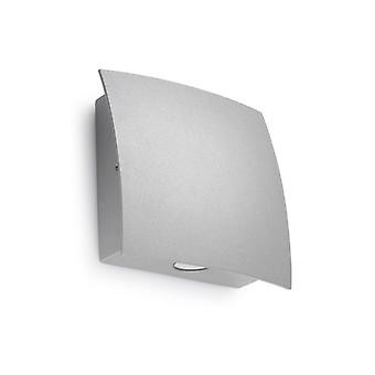 Wall Light, Aluminum And Glass, Gray, 15 Cm