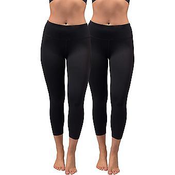 90 Degree By Reflex Womens Power Flex Capri Workout Leggings, Black, Size Small