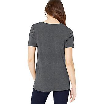 العلامة التجارية - طقوس اليومية Women's Jersey Short-Sleeve Scoop Neck Shirt, Cha ...