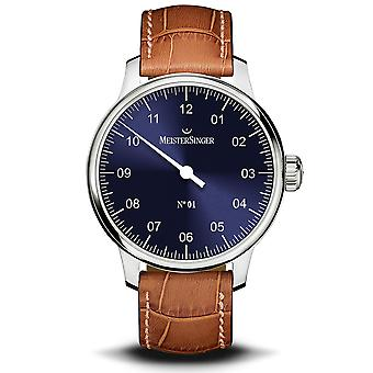 MeisterSinger No.01 Automatic Blue Dial Brown Leather Strap Men's Watch AM3308-SG03W