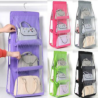 6 Pocket Foldable Hanging Bag Folding Organizer With 3 Layers - Storage Closet Hanger