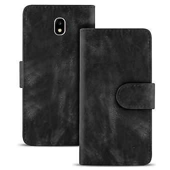 Vintage book case with card compartment for Samsung Galaxy J3 (2017) J330 TPU ClassY Black