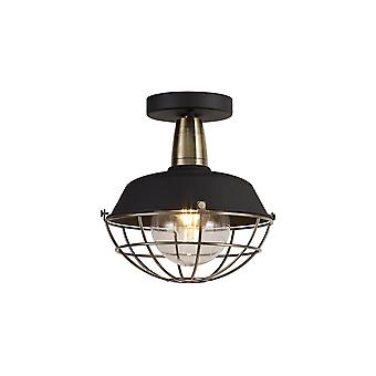 Luminosa Beleuchtung - Semi-Flush Decke, 1 Licht E27, IP65, Matt schwarz, Antik Messing