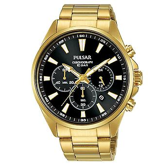Pulsar Mens Gold Plated Dress Bracelet Chronograph Watch Black Dial 100M PT3A40X