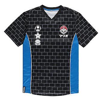 super mario bros mario murstein print sport jersey t-skjorte mannlige x-stor svart/blå