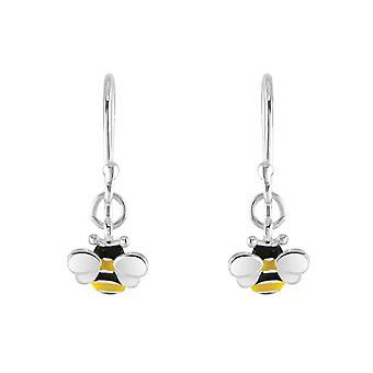 Dew Sterling Silver Dinky Bee Enamel Drop Earrings 5559ME