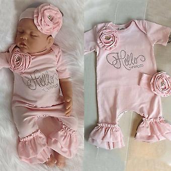 Neugeborenen Baby Mädchen Strampler Body, Stirnband Outfits