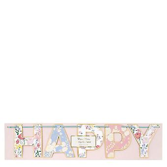 Meri Meri English Garden 'Happy Birthday' Floral Garland 4ft