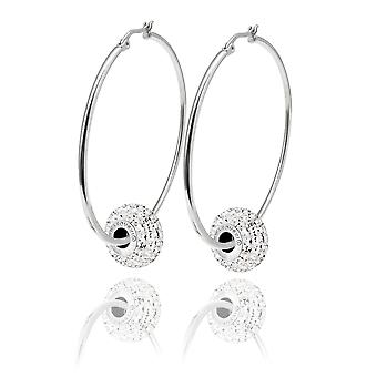 Ah! Jewellery 55mm Stainless Steel Hoops Adorned With A 15mm Clear Crystals From Swarovski Pave Bead. Engraved With Swarovski On The Side Of The Bead.