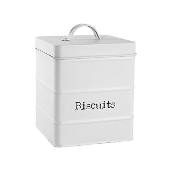 Vintage Biscuit Storage Canister - Metal Square Jar Airtight Seal - Matte White