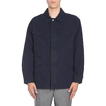 Ami A180w510820410 Men's Blue Cotton Outerwear Jacket