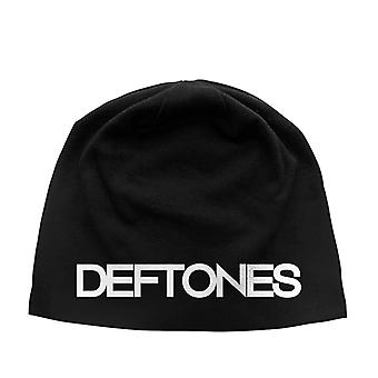 Deftones Beanie Hat band logo white pony new Official Black Jersey Print