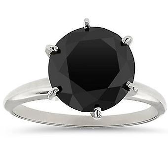 5.50 TCW 14k Biele zlato kolo rez AAA Čierny diamant Solitaire zásnubný prsteň