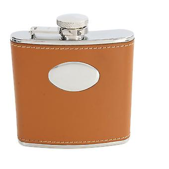 Brown Hip Flask With Engraving Plate