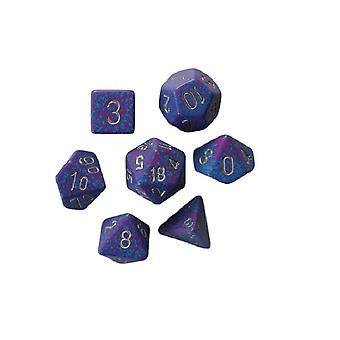 Chessex Speckled Polydice Set of 7 Dice - Silver Tetra