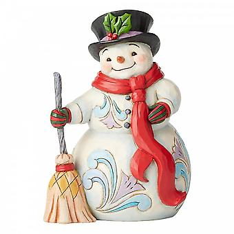 Jim Shore Heartwood Creek Snowman With Broom & Scarf