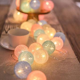 Cotton Balls Garland Beads Led Strips Kids Bedroom Decor Wedding Garden