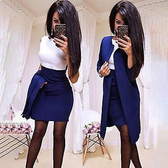 Women Sheath O-neck Mini Dress Sexy Formal Blazer Dress