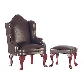 Dolls House Miniature Furniture Brown Leather Wing Back Arm Chair & Footstool