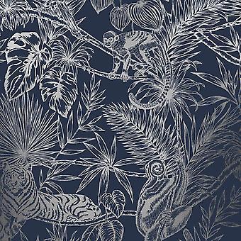 Sumatran Wallpaper Navy / Silver Holden 65760