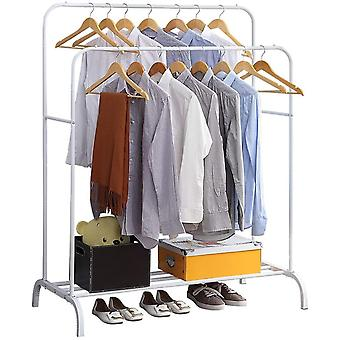 GISSAR Clothing Double Rod Garment Rack with Shelves, Metal Hang Dry Clothes Rail
