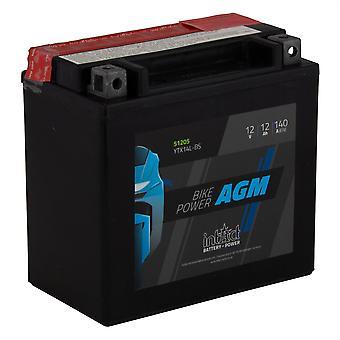 intAct YTX14L-BS Maintenance Free AGM Bike-Power Battery