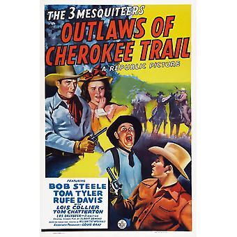 私たちトップ左ボブ Steele ロイス コリアー二式水戦デイビス トム タイラー 1941 映画ポスター Masterprint のポスター芸術チェロキー トレイルの無法者します。