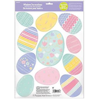 Window Stickers Easter Eggs Glitter Vinyl 11 Pieces