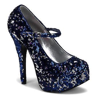 Bordello Women's Shoes TEEZE-07SQ Blue-Slv Sequins