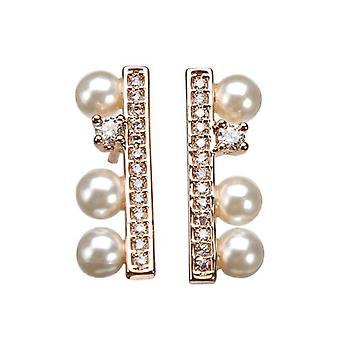 Simple Rhinestone Crystal Pearl Ear Stud Earrings Gold Silver Plated