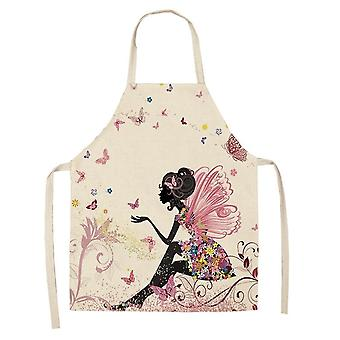 Kitchen Apron Printed Sleeveless Linen Aprons Women Home Cleaning Tools 68*55cm