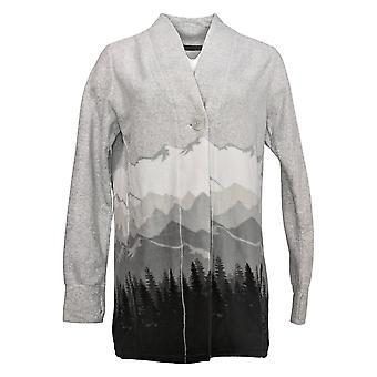 Cuddl Duds Women's Cardigan Fleecewear Stretch Button-Front Gray A38178