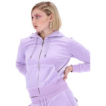 Juicy Couture Robertson Velour sudadera con capucha delantera con cremallera purple 50
